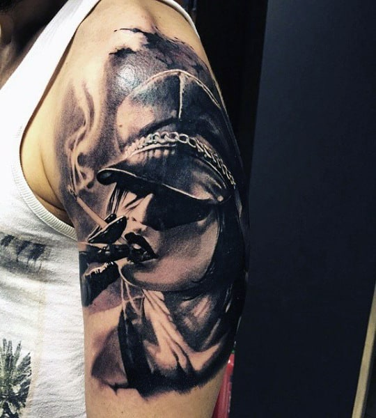 Half Sleeve Arm Tattoos Of Smoke For Men
