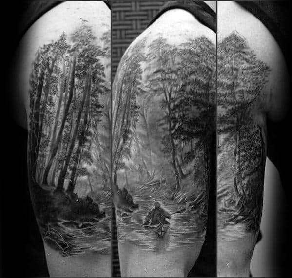 40 Canoe Tattoo Designs For Men Kayak Ink Ideas