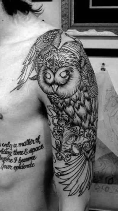 Impressive Owl Illuminati Tattoo Male Sleeves