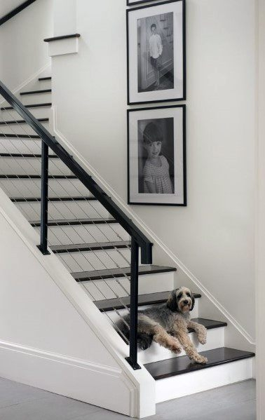 Top 70 Best Basement Stairs Ideas Staircase Designs   Black And White Stairs Design   Farmhouse   Photography   Concept   Disappearing   Grey Background