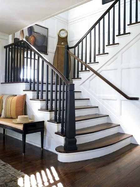 Top 60 Best Stair Trim Ideas Staircase Molding Designs   Craftsman Stair Railing Designs   Homemade   Simple 2Nd Floor Railing Wood Stairs Iron Railing Design   Entryway Stair   Plain Traditional Stair   Floor To Ceiling