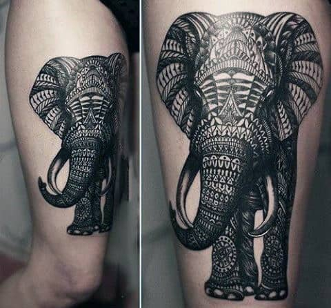 Intricately Designed Elephant Tattoo Mens Upper Arms