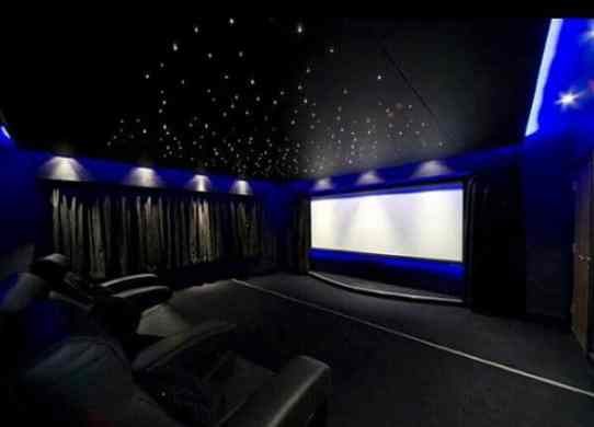 80 Home Theater Design Ideas For Men   Movie Room Retreats Luxury Home Theater Design With Neon Blue Walls