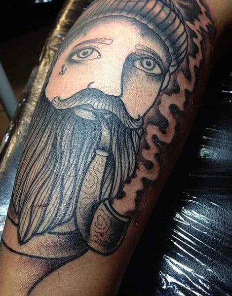 Male Bearded Man With Smoke Tattoo