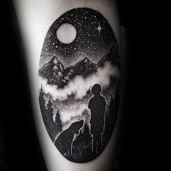 Male Tattoo With Incredible Design Of Child And Dog Staring At Night Sky On Arm