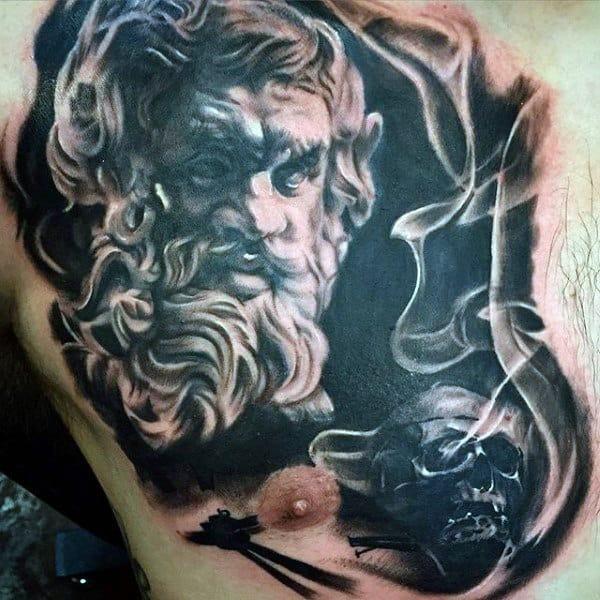 Man With Chest Tattoo Smoke Background
