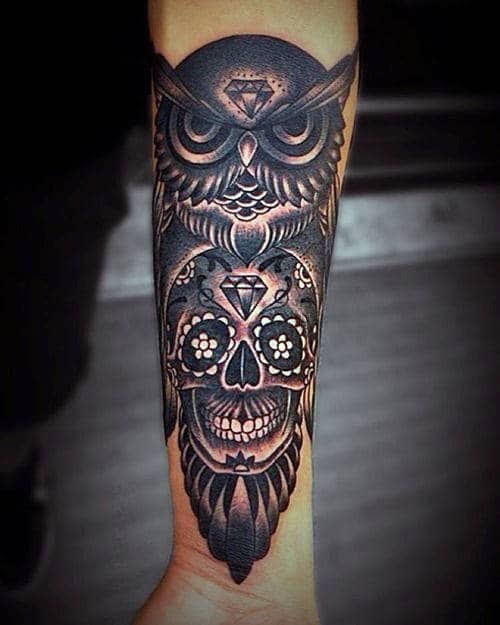 Man With Owl With Sugar Skull Tattoo Black And White Ink Forearm