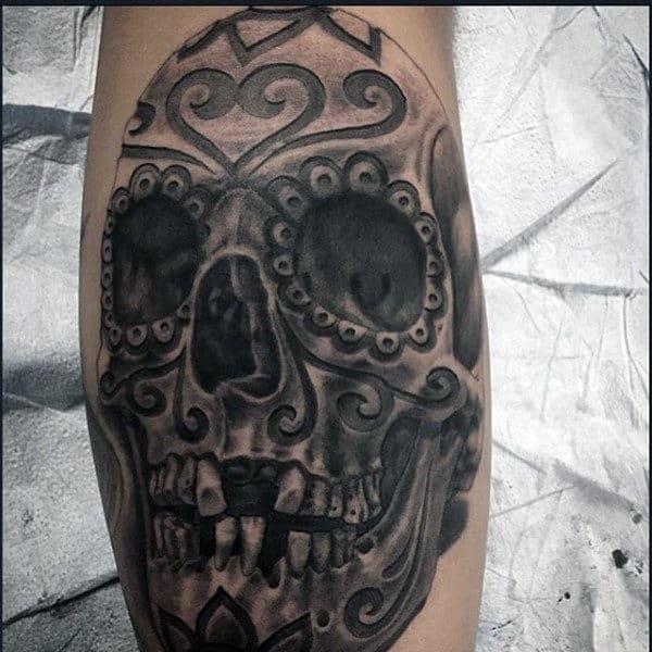 Manly Sugar Skull Tattoos For Men