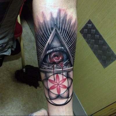 Mens Arms Bleeding Illuminati Tattoo