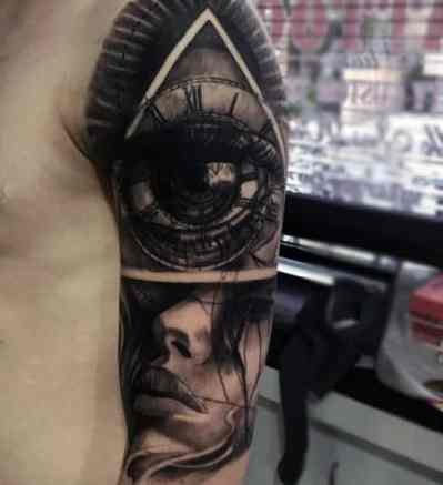 Mens Black Eyed Illuminati Tattoo Arms