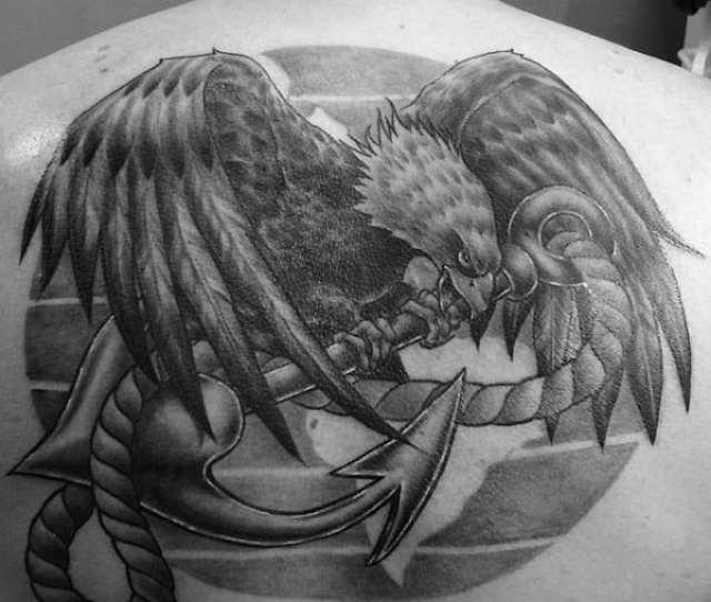 Mens Eagle Anchor Globe Mens Marine Back Tattoos