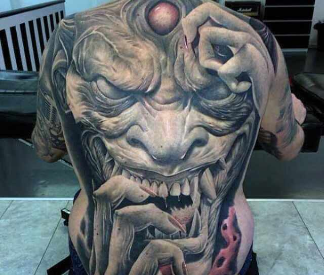 Mens Full Back Horrendous Ogre Tattoo