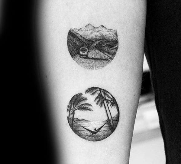Mens Small Palm Tree Beach Scene Tattoo On Inner Forearm