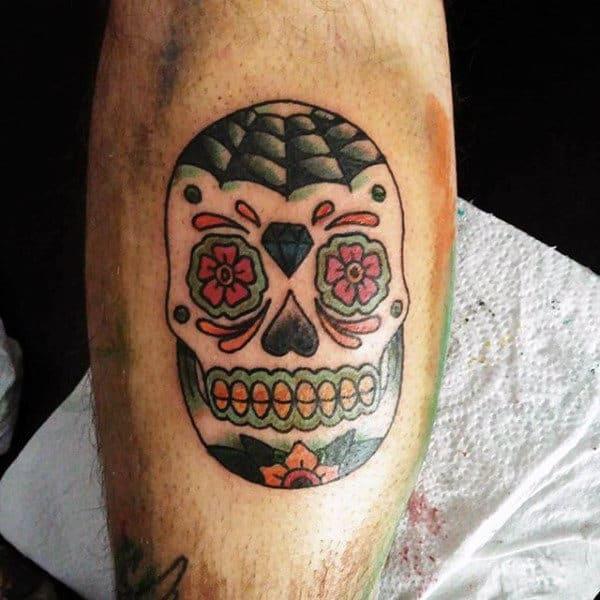 Mens Small Simple Sugar Skull Inner Forearm Tattoos