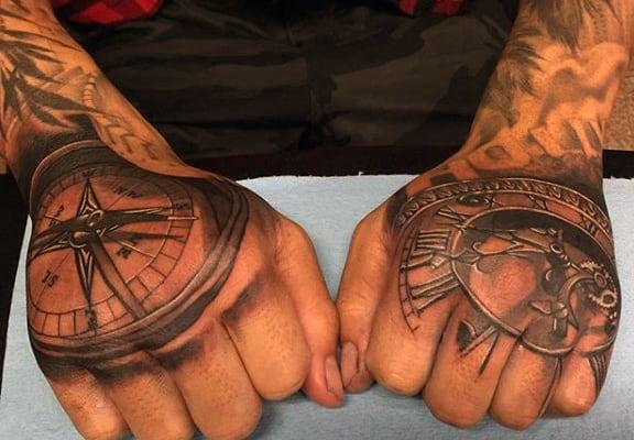 Men's Timeless Clock Tattoo On Hands