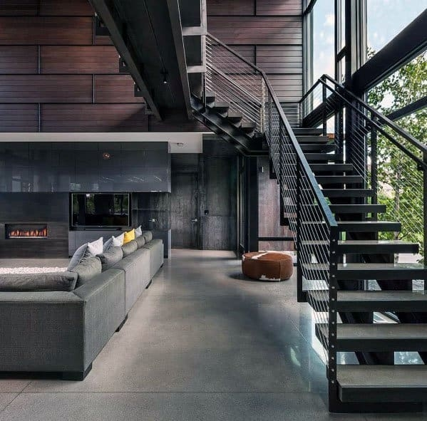 Top 70 Best Stair Railing Ideas Indoor Staircase Designs   Modern Metal Stair Railing   Interesting   Horizontal Slat   Curved Metal   Low Cost   Before And After