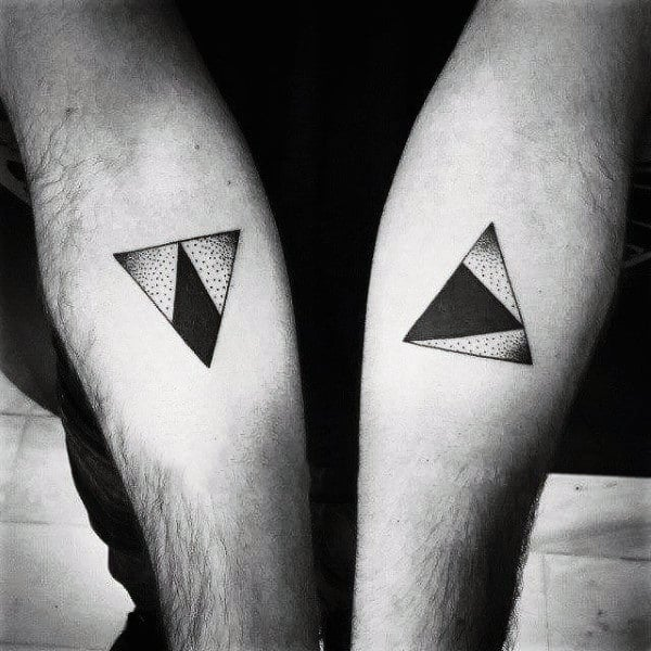 90 Triangle Tattoo Designs For Men   Manly Ink Ideas Monochrome Triangle Tattoo On Arms For Men