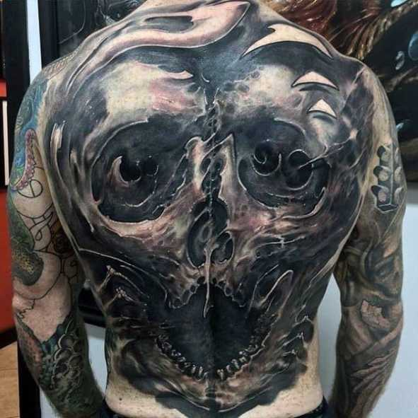 Nice Full Back Skull 3d Incredible Tattoos For Men