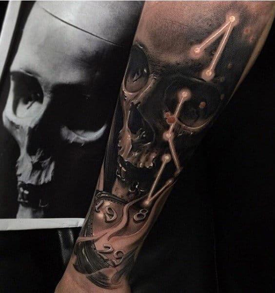 Skull Old Clock Tattoo For Men