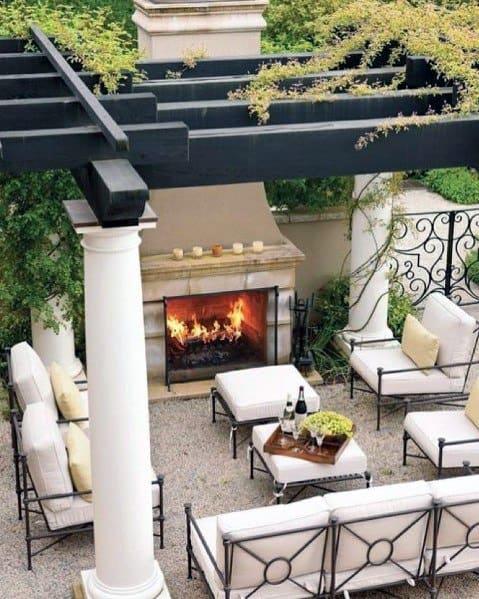 Pergola Covered Gravel Patio Ideas Inspiration With Wood Burning Fireplace