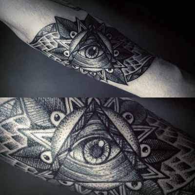Pretty Grey Illuminati Tattoo Male Forearms