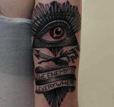 Red Eyed Illuminati Tattoo Quote Male Forearms