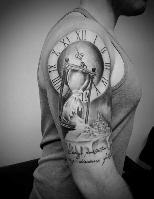 Roman Numeral Clock With Broken Hourglass Mens Half Sleeve Tattoo