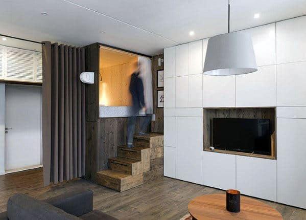 Room Divider Stairs Studio Apartment Ideas