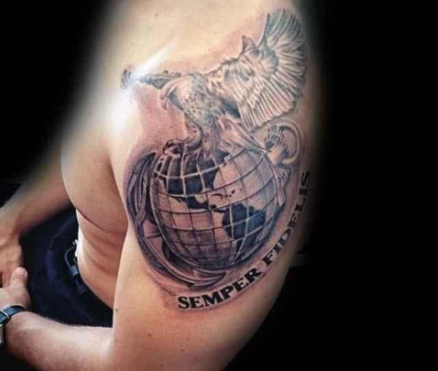 Semper Fiedlis Marine Mens Upper Arm Globe Eagle And Anchor Tattoos