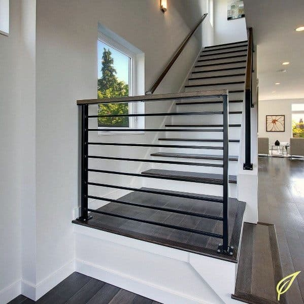 Top 70 Best Stair Railing Ideas Indoor Staircase Designs | Handrails For Steps Indoors | Staircase Around Lift Wall | Glass Panel Stainless Steel Handrail | Narrow Staircase Brushed Nickel | Width Hand | Minimalist