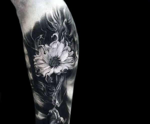Flower Smoking Tattoo For Men