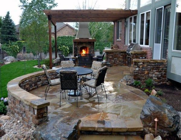 Top 60 Best Patio Fireplace Ideas Backyard Living Space Designs