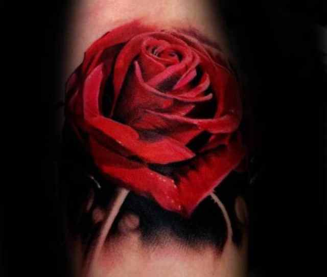 Stunning Red Ink Realistic Rose Mens Arm Tattoos