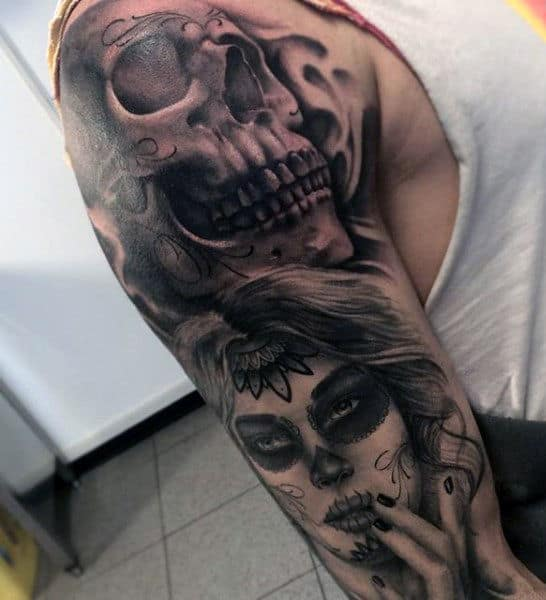 Sugar Skull Sleeve Tattoos For Males Day Of The Dead Themed