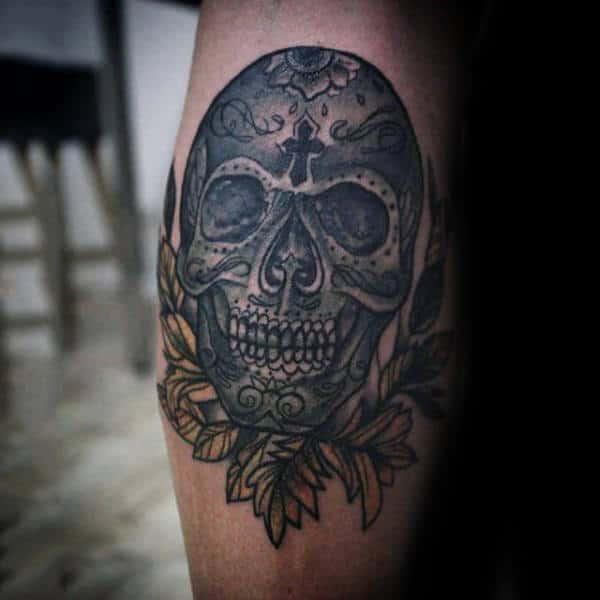 Traditional Sugar Skull Tattoo On Gentleman