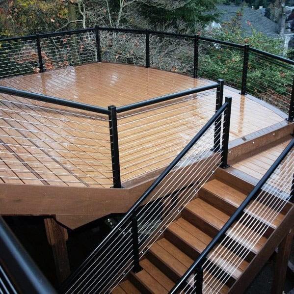 Top 50 Best Metal Deck Railing Ideas Backyard Designs   Metal Handrails For Decks   Patio   Decking   Fence   Pool Deck   Vertical Metal