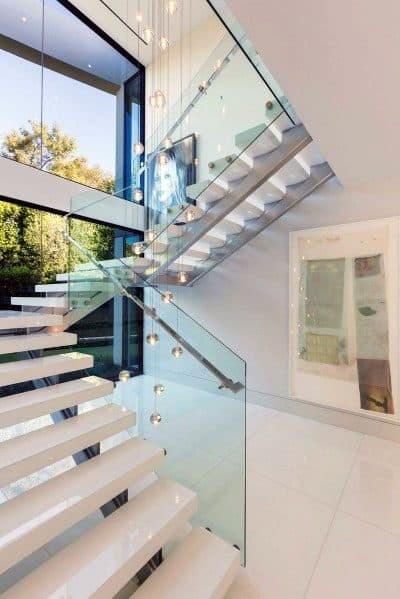 Top 70 Best Stair Railing Ideas Indoor Staircase Designs   Modern Stair Rails Indoor   Cheap   Unique Fancy Stair   Modern Style   White Oak   Balustrade