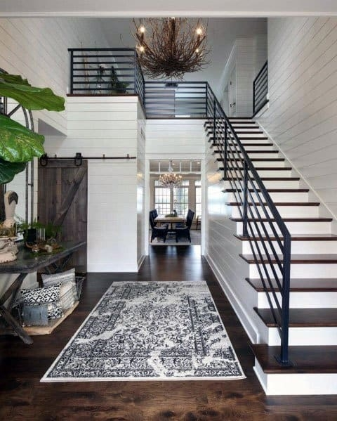 Top 70 Best Stair Railing Ideas Indoor Staircase Designs   Tubular Design For Stairs   Stainless Steel   Fully Covered Balcony Grill   Fabrication   Simple   Industrial