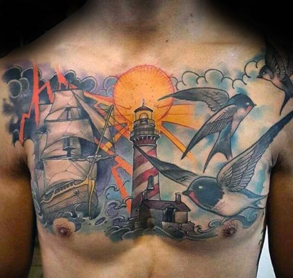 Chest Tattoos Clouds Sky