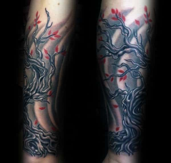 Windy Cherry Blossom With Red Flowers Mens Forearm Sleeve Tattoo