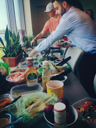 The spread at our summer salad potluck!