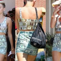 Photo Gallery: Too Much Money! See Miley Cyrus in Mini Dress made of American Dollar($) Bills