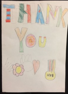 Front of a thank you card sent by Kinlochbervie school following their visit to Next of Kin