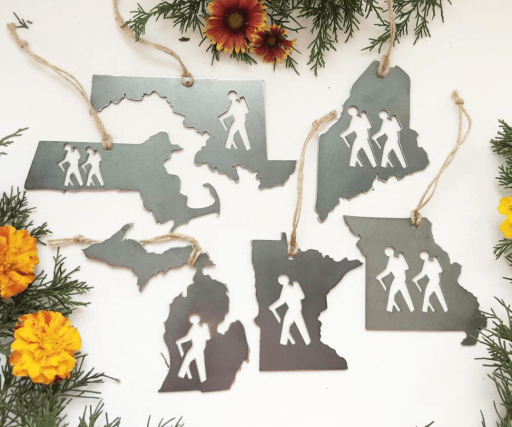 recycled steel state hiker tree ornaments