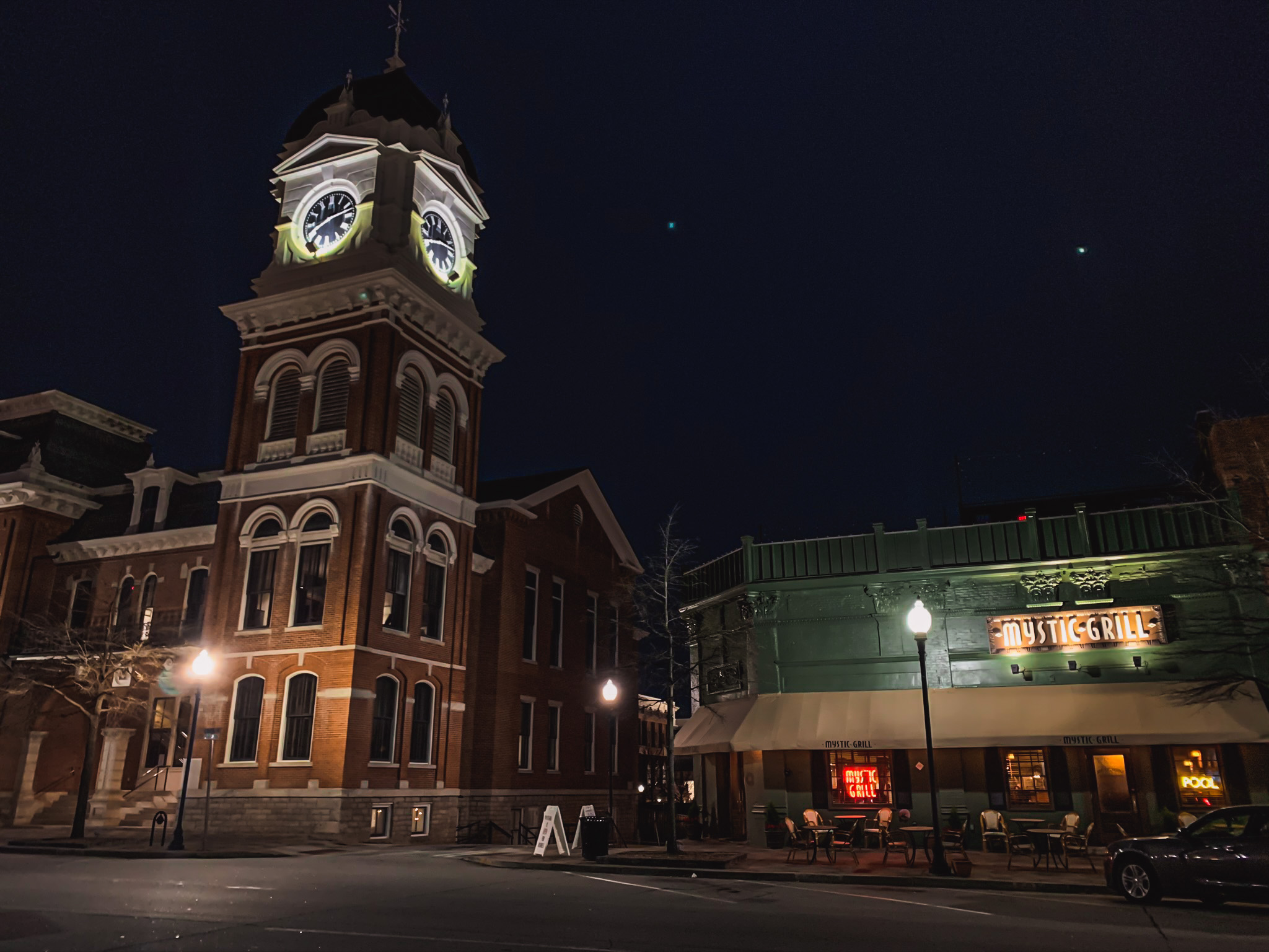 the clock tower and mystic grill of Mystic Falls