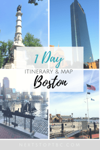 Pin for later: Boston - 1 day itinerary and walking tour map