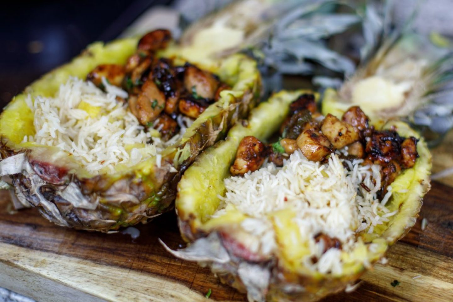 Spicy Teriyaki Pineapple Boats