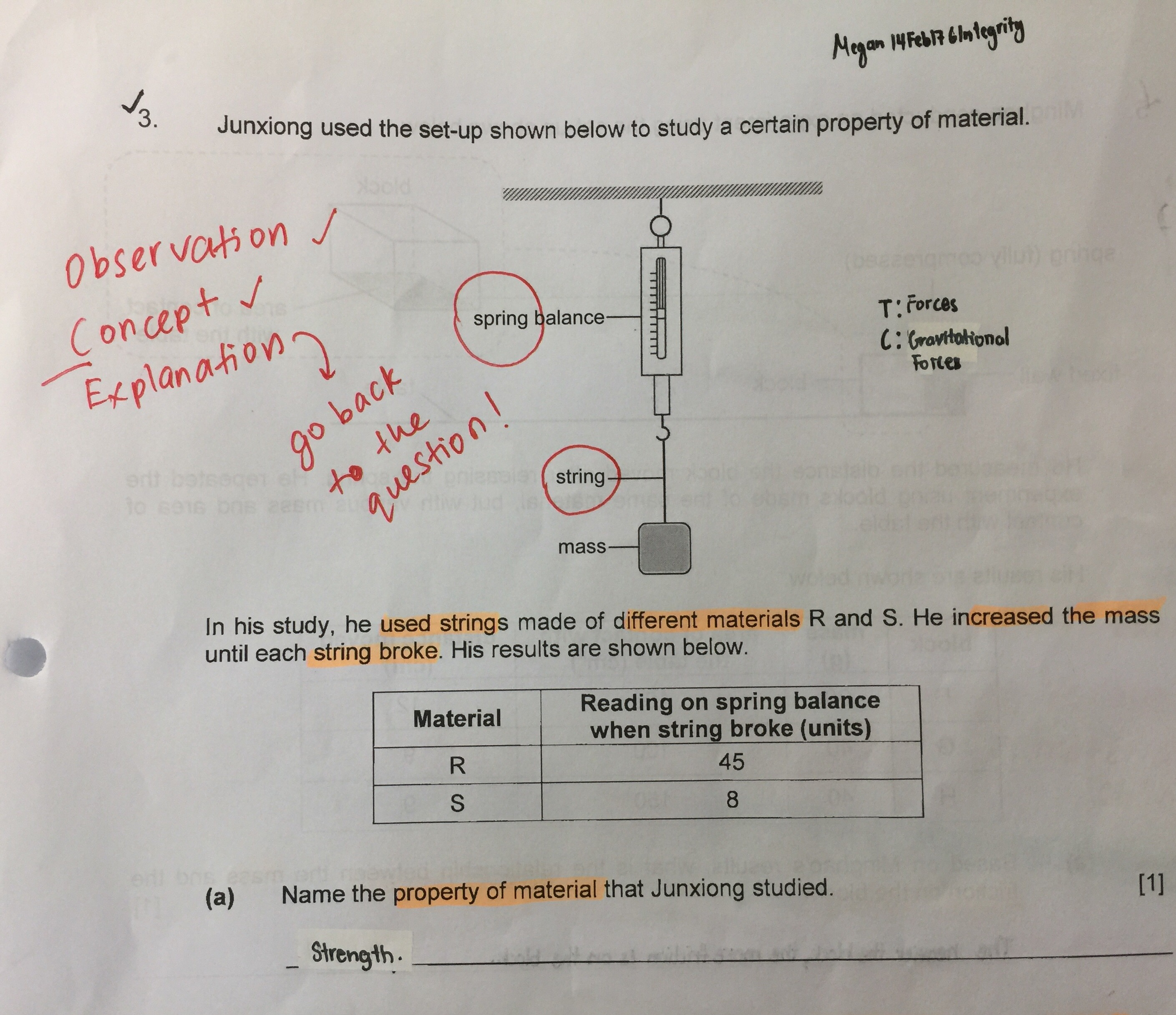 Psle Forces Phyiscal Science Questions