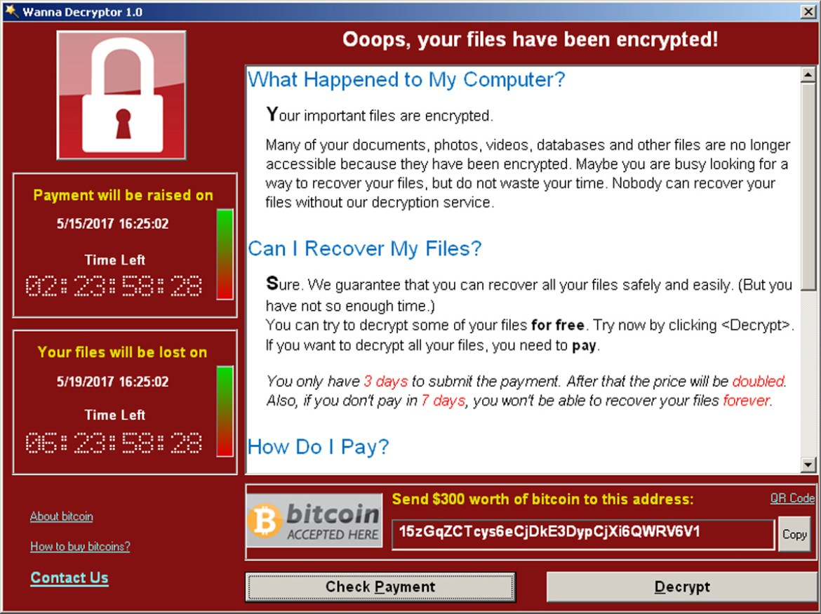 A screenshot shows a WannaCry ransomware demand, provided by cyber security firm Symantec, in  Mountain View, California, May 15, 2017.