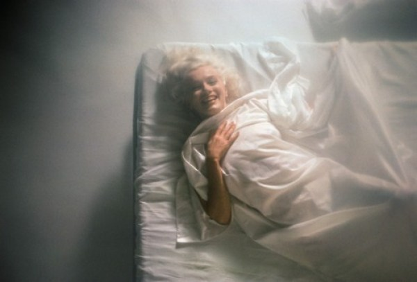 Marilyn Monroe on White Bed